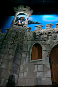 castle and door detail, styrofoam carving, scenic paint